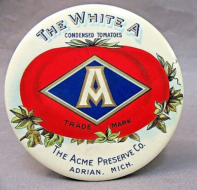 """THE WHITE A"" TOMATOES Acme Preserve Co. Adrian MICH paperweight pocket mirror *"