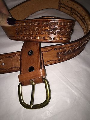 """Unisex Size 38"""" Brown Leather Belt Brass Buckle Braided & whip stitch leather"""