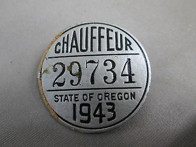 """Vintage 1943 STATE OF OREGON CHAUFFEUR BADGE Silver Overlay 1 1/2"""" Across Center"""