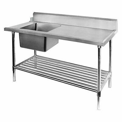 Dishwasher Inlet Table w Single Bowl Sink & Pot Shelf, 1200mm, Left, Commercial