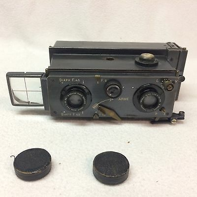 C1905-1930s Richard Jules VERASCOPE Stereo Camera TESSAR ZEISS LENS, CAPS, CASE