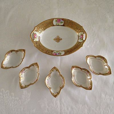 Vintage Noritake Celery Tray and Salt Dishes