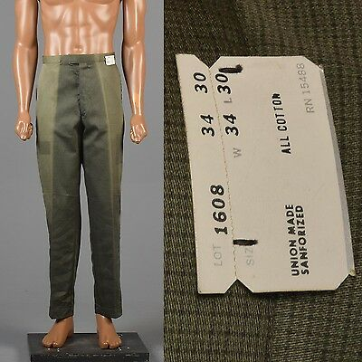 34x30 Vintage 1950s 50s NOS Green Work Pants Rockabilly Mid Century Trousers