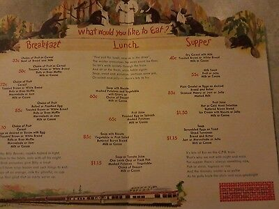 Canadian Pacific Dining Car Service For Young Travellers Menu 1950s