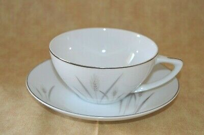 Platinum Wheat Cup & Saucer - Fine China of Japan