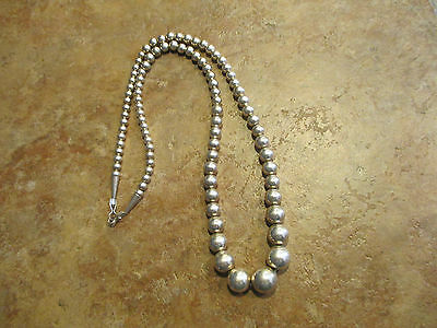 """Vintage NAVAJO Graduated Sterling Silver Bead Necklace on Foxtail Chain    23.5"""""""