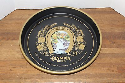"Vintage Olympia Brewing Co ""Good Luck"" Black Beer Serving Tray"