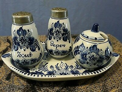 Hand Painted Delft Blauw Porcelain Vintage Sugar Pot, Salt Pepper Shakers, Tray
