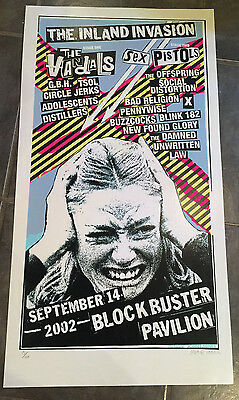 Sex Pistols Inland Invasion 2002 limited edition Screened Poster.Punk,X