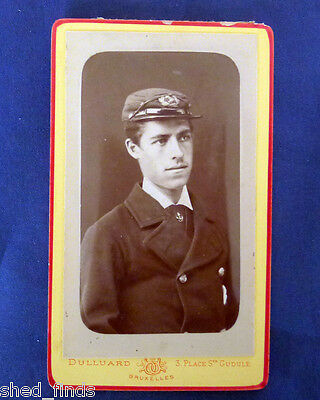 Named 1878 Dated Photographic Portrait Of A Merchant Seaman. Hat Badge Visible.