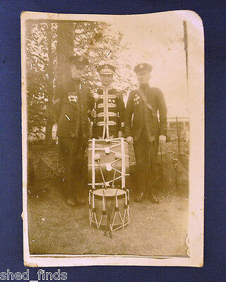 Ww1 Era Military Photograph: British Army Soldier Musicians Medals With Drums.