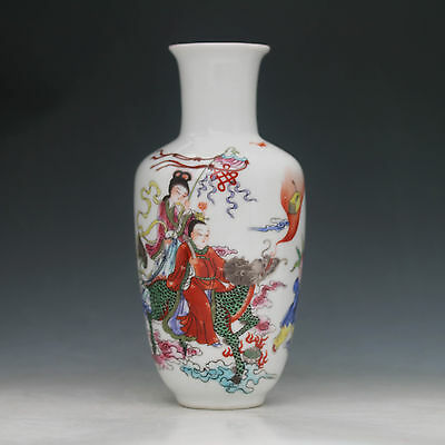 Chinese Color Porcelain Hand-Painted immortal Ride Dragon Vase w YongZheng Mark