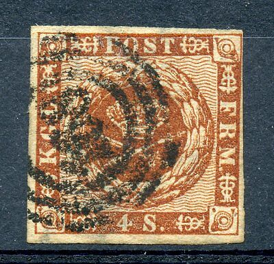 Denmark 7a VF Used 1858 issue 4s brown, '168' Holstein numeral cancel, Scarce