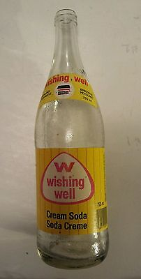 "Scarce Canadian ""wishing Well Cream Soda"" 750 Ml Clear Glass Bottle-Paper Labels"