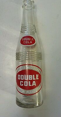 """Rare Canadian """"double Cola"""" 10 Oz Embossed Bottle - Red & White Acl - Nice"""