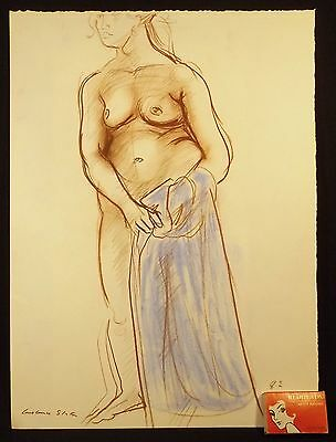 1982 Constance Stokes Signed Pastel Drawing Nude & Blue Towel Melbourne Victoria
