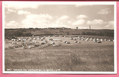 Caravan Site, Whitecliff Bay, Bembridge, Isle of Wight postcard Real Photo Nighs