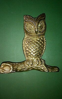 vintage solid brass owl on branche