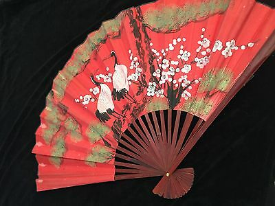 Large Oriental Vintage Hand Painted Chinese Fan Decorative Wall Hanging