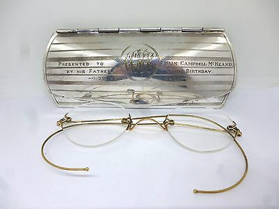 VINTAGE 1920's pair of gold metal RIMLESS EYE GLASSES with SILVER PLATED CASE