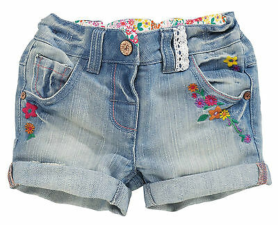 ВNWT NEXT Girls' Outfits • Denim Embroidered Shorts • Cotton-Rich • 12-18 Months