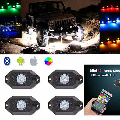 LED Rock Lights Wireless Bluetooth Music RGB Color Accent Under Car Waterproof