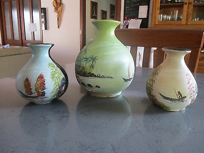 3 oriental hand painted vases boat and water scenes