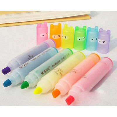 6pcs Set New Creative Lovely Rabbit Marker Pen Highlighter Writing Pens 6 Colors