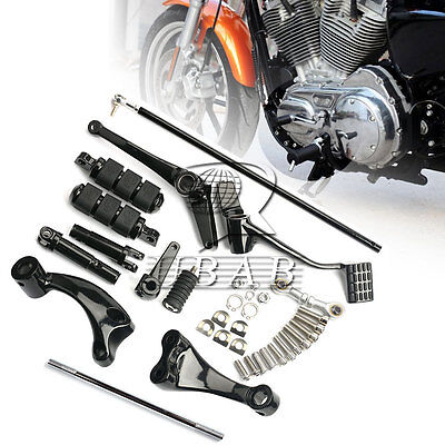 Black Forward Control Complete Pegs Lever Linkage for Harley Sportster 883 14-17