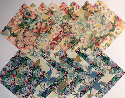 24 x 5 INCH VINTAGE FLORAL FABRIC SQUARES PATCHWORK CRAFT