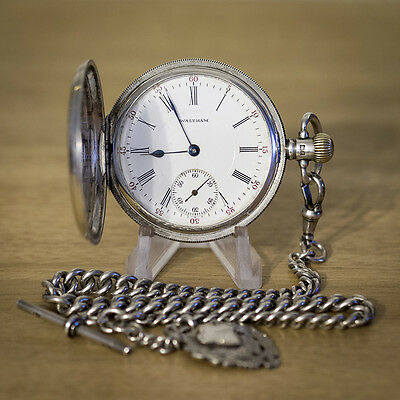 Stunning Waltham 15 Jewel Solid Silver Full Hunter Pocket Watch with Chain