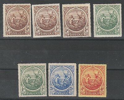 Barbados 1916 Kgv Seahorses Range To 4D Plus Shades
