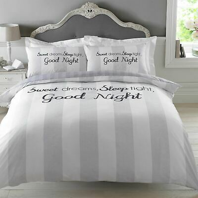 Dreamscene Sweet Dreams Duvet Cover with Pillowcase Stripe Bedding Set Grey