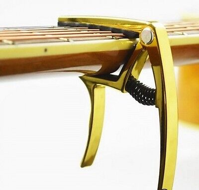 GUITAR CAPO quick release PRO TRIGGER clamp ACOUSTIC ELECTRIC and UKULELE Gold