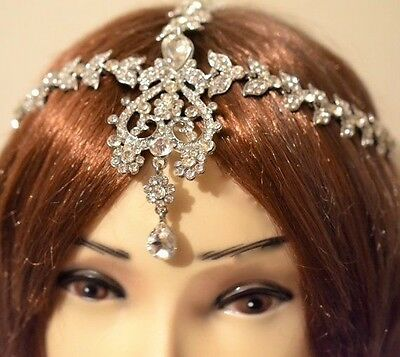 Silver matha patti tikka  Head Chain Head Dress Wedding Bridal Bohemian Indian