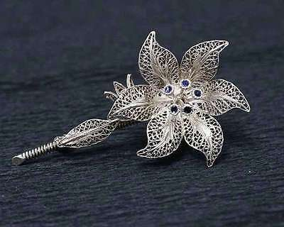 real silver 835k filigree pin silhouette of flower-gift jewelry old unique charm