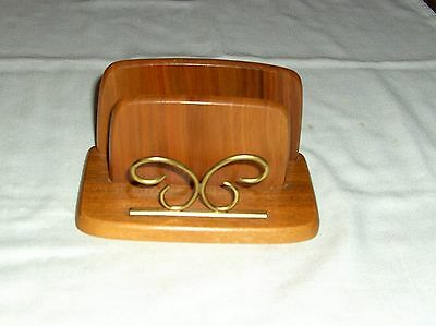 """VINTAGE BRASS & WOOD LETTER RACK 1950`s STYLE  3"""" x 6"""" x 3.25"""