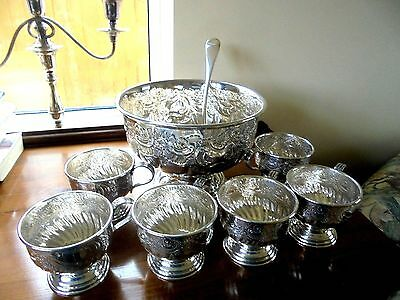 Stunning Viners Silver Plated on Copper Punch Bowl/Cups & Ladle