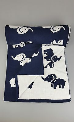 New Baby NAVY WHITE Knitted ELEPHANT Pram Pushchair Blanket. SUPER SOFT MADE-UK