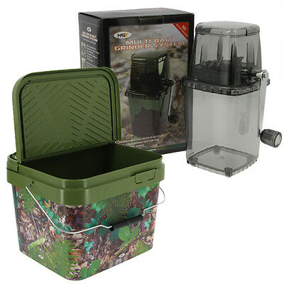 Ngt Boilie Bait Crusher Grinder For Carp Fishing Boilies + 10L Square Bucket