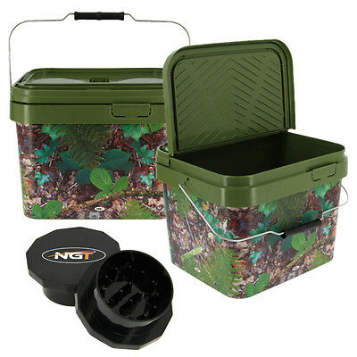 2 x SQUARE FISHING 10L CAMO BAIT BUCKET FOR BOILIES PELLETS AND BAIT NGT GRINDER