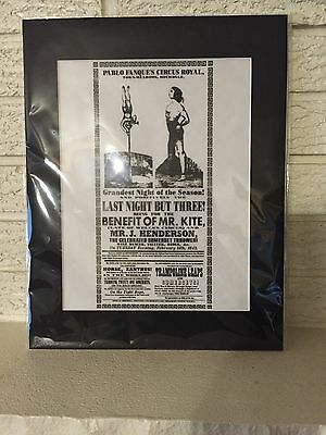 FOR THE BENEFIT OF MR KITE POSTER BEATLES Sgt. Pepper's matted Ready to Frame