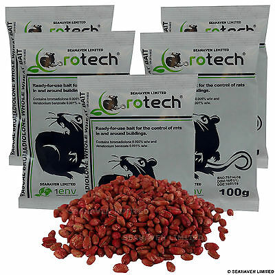 5 x 100g Rotech Bromadiolone Whole Wheat Grain Poison - Rat Killer Control Bait