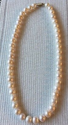 Beautiful 8.40-10mm White Freshwater Pearl Necklace 14ct Gold Clasp 18.30