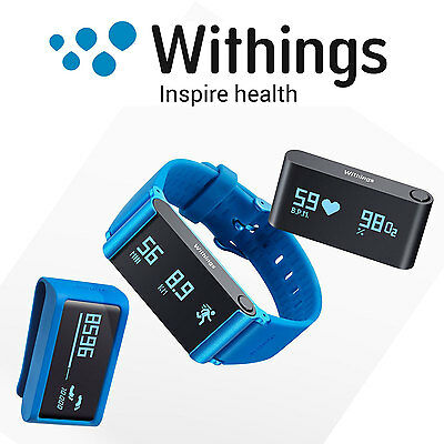 WITHINGS Pulse Ox O2 Activity Fitness Gesundheits Tracker für iOS Android blue