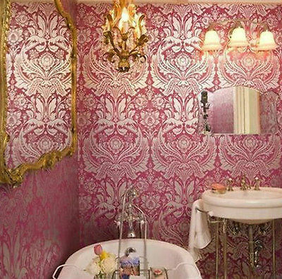 Pink & Silver Damask Glam Wallpaper BAROQUE HOLLYWOOD REGENCY Luxe Boho or Kids