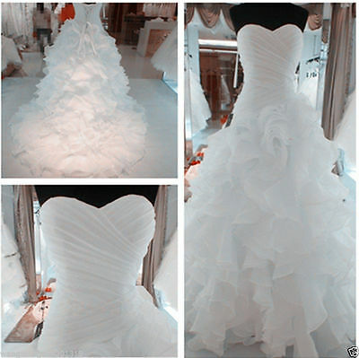 New White/Ivory Organza Wedding Dress Bridal Gown Custom Size 6 8 10 12 14 16 18