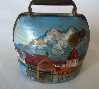 Vintage Miniature Brass Hand-painted Cowbell