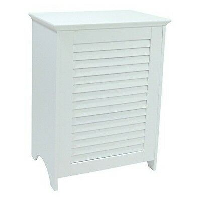 Redmon 5208WH Contemporary Country Louvered Front Hamper, White NEW