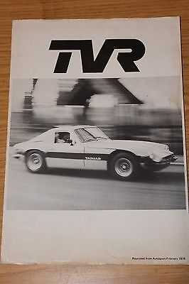TVR Taimar Factory Reprinted Road Test & Price List 1978